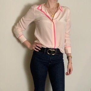 j.crew Pink silk button up shirt